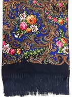 Shawl Scarf  with Floral Design Print,   Dark Blue