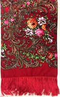 Shawl Scarf  with Floral Design Print,   Red