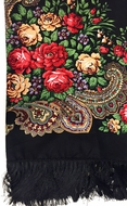 Shawl Scarf  with Floral Design Print, Black / Red
