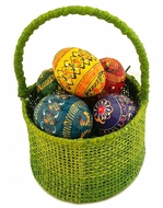Small Easter Green Basket with 5 Wooden  Mini Eggs