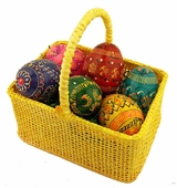 Small Easter Yellow Basket with 6 Wooden  Mini Eggs