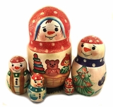 Snowman, 5 Nesting Doll, Hand Carved, Hand Painted