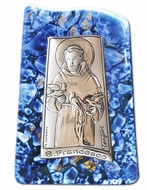 St. Francis, Silver Icon on Murano Style Glass with Stand