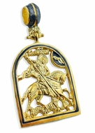 St. George, Icon Pendant, Sterling Silver 925, Gold Plated