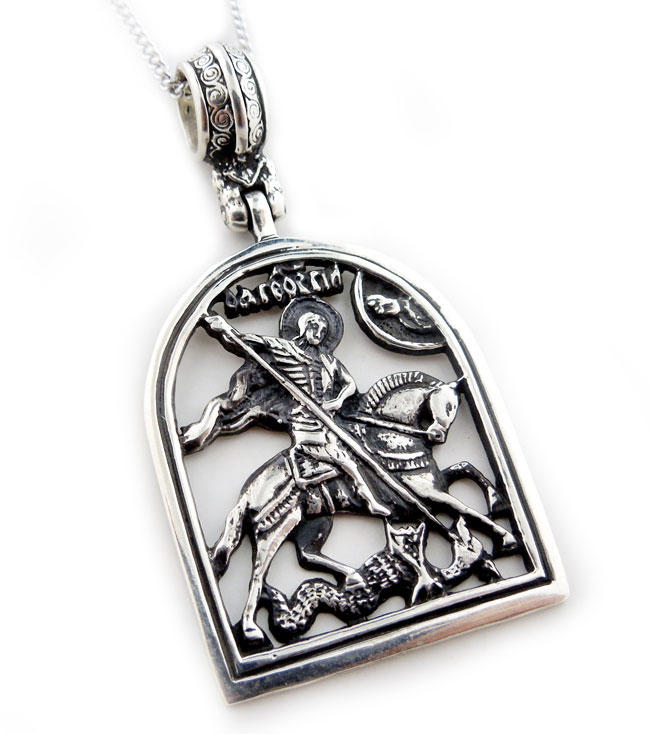 St george sterling silver pendant medal at holy trinity store st george sterling silver pendant medal aloadofball Image collections