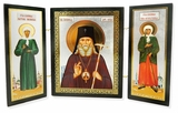 St. Luke the Surgeon, St. Matrona & St Xenia, Triptych, Gold & Silver Foil