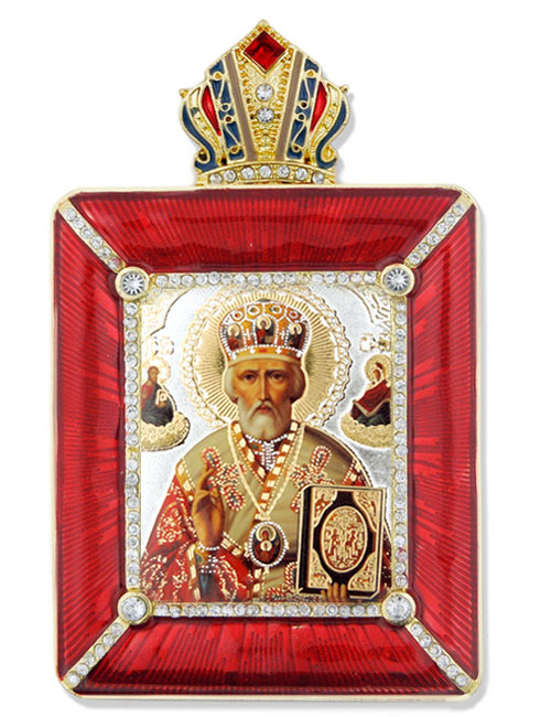 St Nicholas Icon In Square Style Frame With Chain Stand At