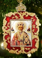 St. Nicholas, Square Shaped Ornament Icon Pendant, Red