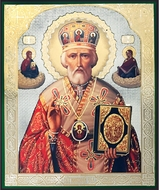 St. Nicholas the Wonderworker, Gold / Silver Foiled Orthodox Icon