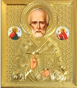St. Nicholas, Orthodox Mini Icon in Metal Oklad