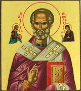 St Nicholas the Wonderworker, Serigraph Mini Icon, Bronze Leaf