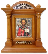 St. Nicholas Wonderworker, Kiot  Icon  in Wood Shrine with Glass