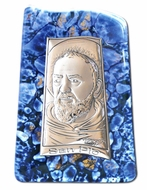 St.  Padre Pio, Silver Icon on Murano Style Glass with Stand