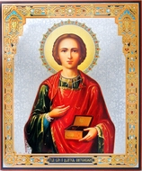 St Panteleimon (The Healer), Gold / Silver Foiled  Icon