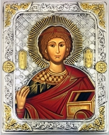 St Panteleimon (The Healer), Serigraph  Icon in Silver  Gold Plated Riza