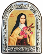 St. Therese of the Child Jesus, Serigraph  Icon in Brushed Metal Frame