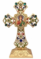 Standing Jeweled Cross with Archangel Michael Icon