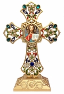 Standing Jeweled Cross with Icon of Christ