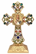 Standing Jeweled Cross with St. Nicholas Icon