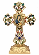 Standing Jeweled Cross with Virgin Mary Eternal Bloom Icon