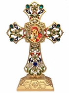 Standing Jeweled Cross with Virgin Mary Zirovitskaya Icon