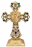 Standing Jeweled Cross with Virgin of Jerusalem Icon