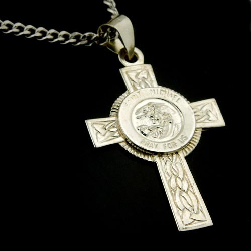 Sterling silver cross st michael pray for us at holy trinity store with optional chain aloadofball Choice Image