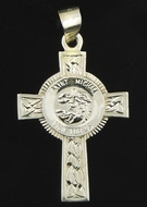 "Sterling Silver Cross ""St. Michael Pray For Us"""