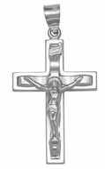 Sterling Silver Cross with Corpus Crucifix, Rhodium Finish, 1 1/4""