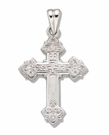 Sterling Silver Cross with High Polish Rhodium Finish