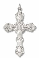 Sterling Silver Cross with High Polish Rhodium Finish, Large