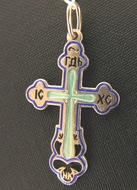 Sterling Silver Enameled Orthodox Cross