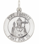 "Sterling Silver  Medal  ""Pope Francis Pray For Us"" with Antique Finish"