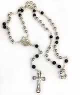 Sterling Silver / Onyx Rosary Prayer Beads with Cross