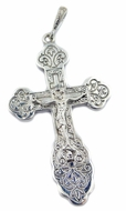 Sterling Silver Orthodox Three Bar Cross with Corpus Crucifix, Large