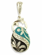 Sterling Silver Pendant Egg, Sterling Silver, Faberge Style