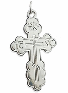 Sterling Silver Three Barred Orthodox Cross, 1 7/8""