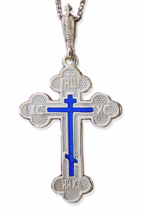 Sterling silver three barred orthodox cross with blue enamel at view large image aloadofball Image collections