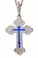 Sterling Silver Three Barred Orthodox  Cross with Blue Enamel
