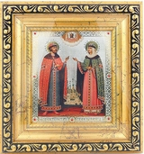 Sts. Peter and Fevronia of Murom, Framed Icon with Crystals and Glass