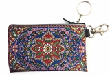 Tapestry Holder for Rosary with Key Chain, Blue With Red
