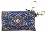Tapestry Holder for Rosary with Key Chain, Purple