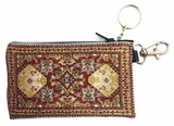 Tapestry Holder for Rosary with Key Chain,  Red