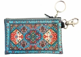 Tapestry Holder for Rosary with Key Chain, Turquoise With Red