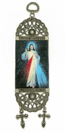 "The Divine Mercy, Textile Art  Tapestry Icon Banner, 7"" H"