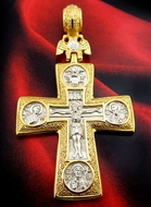 The Gold/Silver Cross with Double Headed Eagle & Virgin of Kazan & Saints