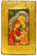The Holy Family, Serigraph Icon with Crystals and Silver Elements