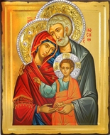 The Holy Family, Serigraph Orthodox Jeweled Icon