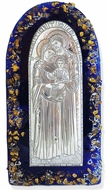 The Holy Family, Silver / Gold  Plated Icon on Murano Style Glass with Stand