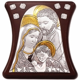 The Holy Family, Silver / Gold Plated, Wooden Base Icon with Stand